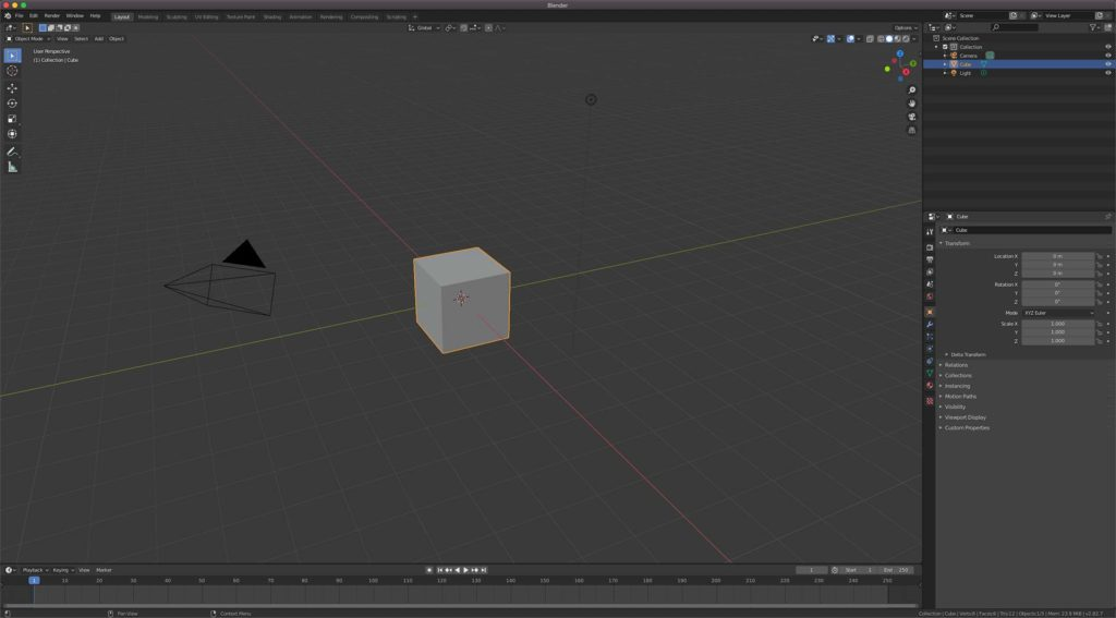 Blender program opened